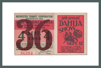 Original Bus & Trolley Ticket, Rochester Transit Corporation, 1948