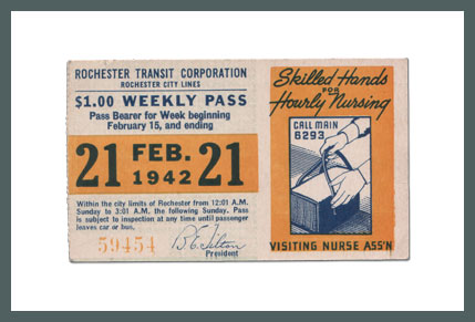 Original Bus & Trolley Ticket, Rochester Transit Corporation, 1942