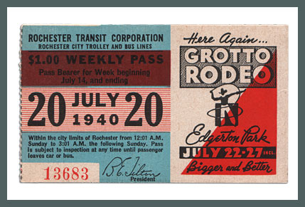Original Bus & Trolley Ticket, Rochester Transit Corporation, 1940