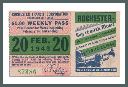 Original Bus & Trolley Ticket, Rochester Transit Corporation, 1943