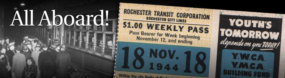Original Bus & Trolley Weekly Transit Pass, Rochester Transit Corporation, 1944