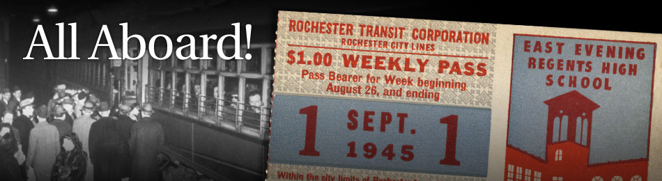 Original Bus & Trolley Weekly Transit Pass, Rochester Transit Corporation, 1945