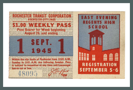 Original Bus & Trolley Ticket, Rochester Transit Corporation, 1945