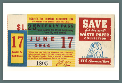 Original Bus & Trolley Ticket, Rochester Transit Corporation, 1944