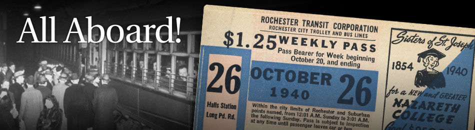 Original Bus & Trolley Weekly Transit Pass, Rochester Transit Corporation, 1940