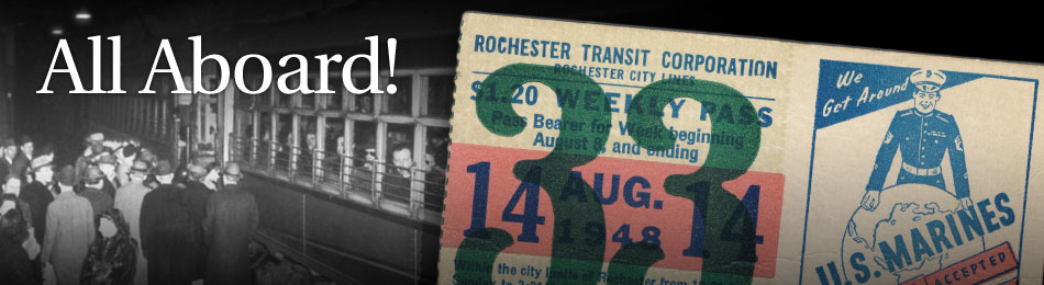 Original Bus & Trolley Weekly Transit Pass, Rochester Transit Corporation, 1948
