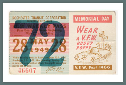 Original Bus & Trolley Ticket, Rochester Transit Corporation, 1949