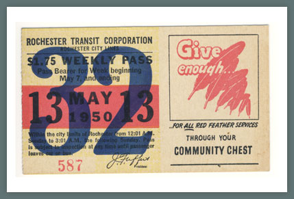 Original Bus & Trolley Ticket, Rochester Transit Corporation, 1950