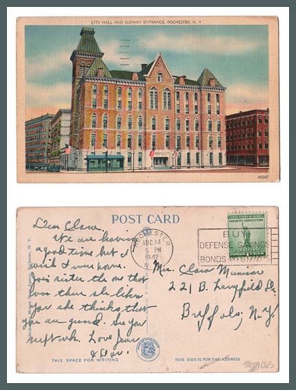 Rochester City Hall with Subway Entrance, Vintage Postcard (Rollover the image to zoom)