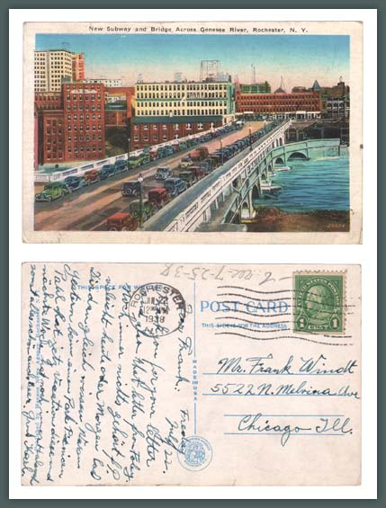 New Subway and Broad Street Bridge (Aqueduct) over Genesee River, Vintage Postcard (Rollover the image to zoom)