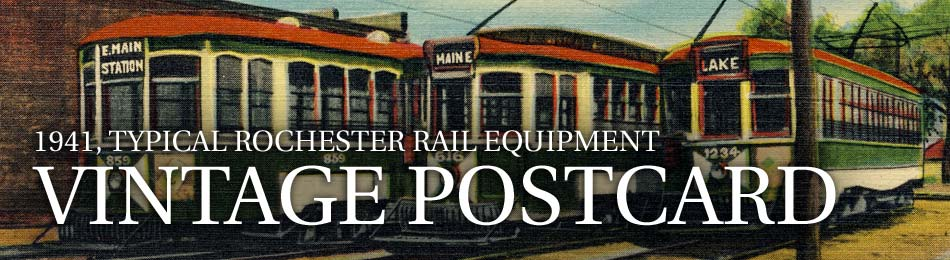 Typical Rochester Rail Equipment, Vintage Postcard (mailed 1941)