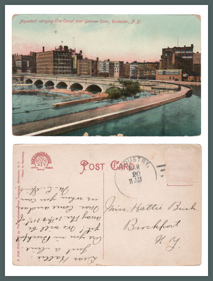 Erie Canal Aqueduct in Downtown Rochester NY, Vintage Postcard (Rollover the image to zoom)