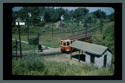 Old Photo of the Rochester Subway car 48 at Rowlands Loop. September 8, 1951. (Rollover the image to zoom)
