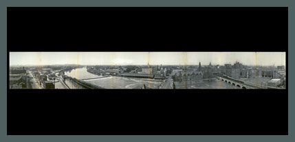 Old Panoramic Photo of Rochester's Erie Canal and Genesee River, 1906. (Rollover the image to zoom)