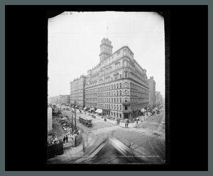 Old Photo of Rochester's Four Corners and Powers Building, 1904. (Rollover the image to zoom)
