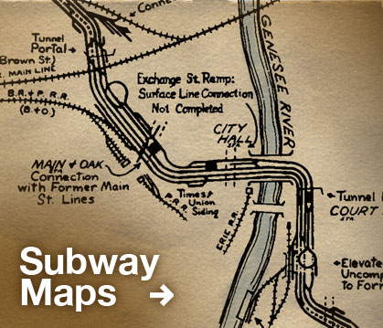 This tracking map shows the Rochester Subway as it was in 1928 with stations, suburban rail lines, and connections.