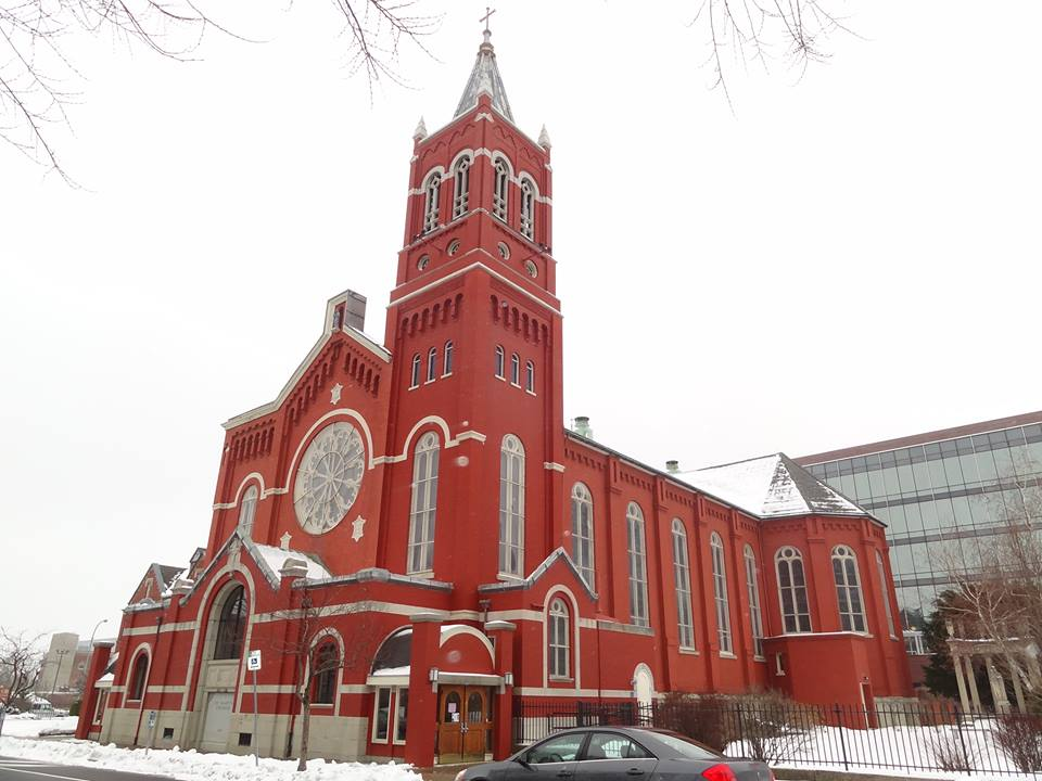St. Mary's Church (Roman Catholic). St. Mary's Place. Features an 18' Louis Comfort Tiffany rose window. Easily one of the more valuable, and stunning rose windows Tiffany created. [PHOTO: exploringtheburnedoverdistrict.wordpress.com]