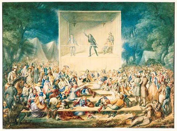 An artist's rendering of a Methodist camp meeting (religious revival) during the Second Great Awakening. [IMAGE: Watercolor by J. Maze Burbank, c. 1839. Old Dartmouth Historical Society-New Bedford Whaling Museum, New Bedford, Massachusetts.]