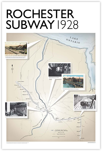 1928 Rochester Subway Poster based on an Electric Railroader's Association map by Vitaly Uzoff and Chas. Yingling.