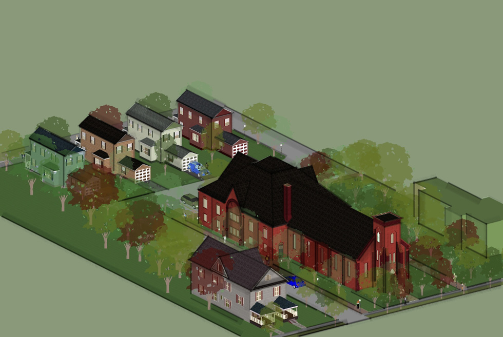 An design concept to readapt the church and surrounding property into housing will be presented at the Zoning Board hearing this Thursday.
