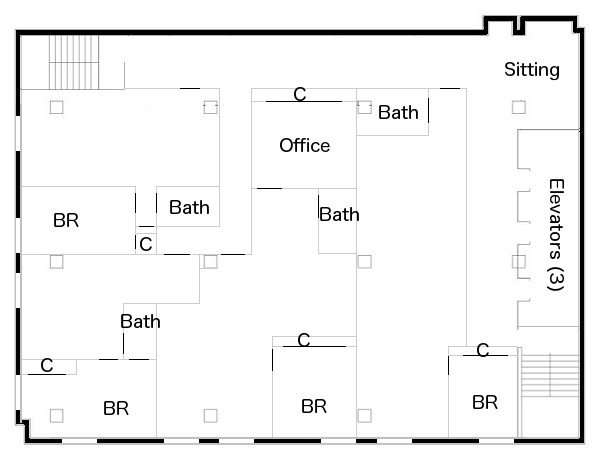 Sample floor plan for apartments at 88 Elm.