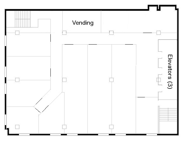 Sample floor plan for a hotel at 88 Elm.