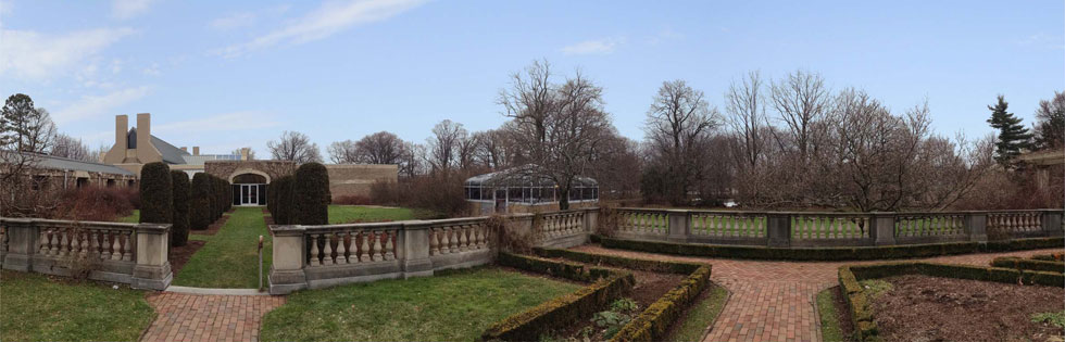The current view looking east from the Eastman House gardens.