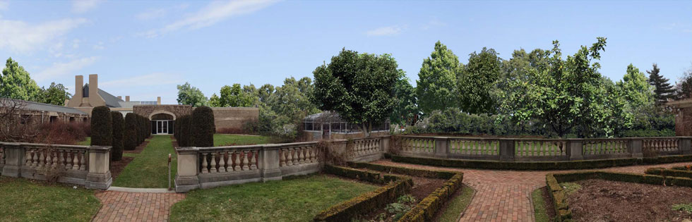 View of proposed development as would be seen from the Eastman House gardens in summer with foliage.