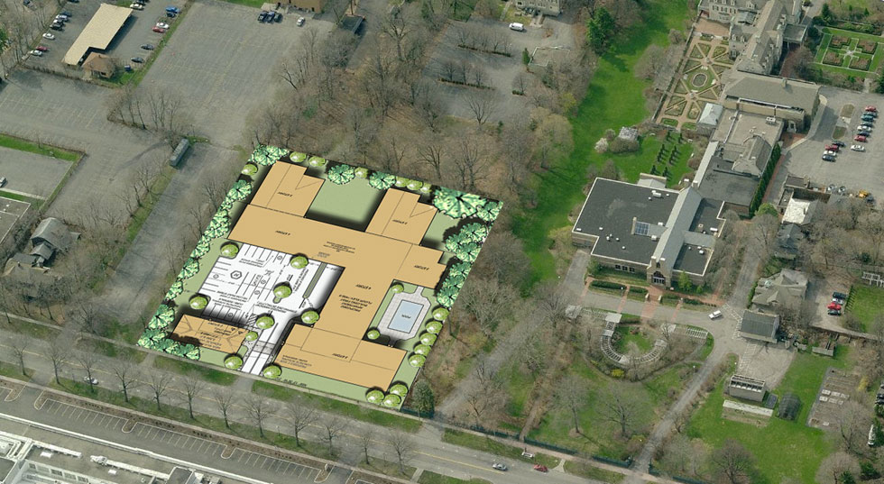 933 University Ave. aerial view. The Eastman House and gardens are on the right.