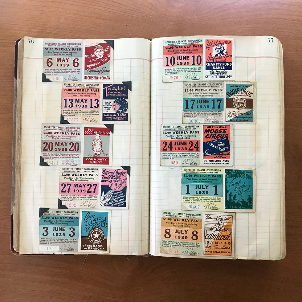 Gilbert Hunt was a trolley and bus operator with Rochester Transit Corporation for 40 years. His collection of transit passes is up for grabs. [IMAGE: From the collection of Gilbert Hunt]