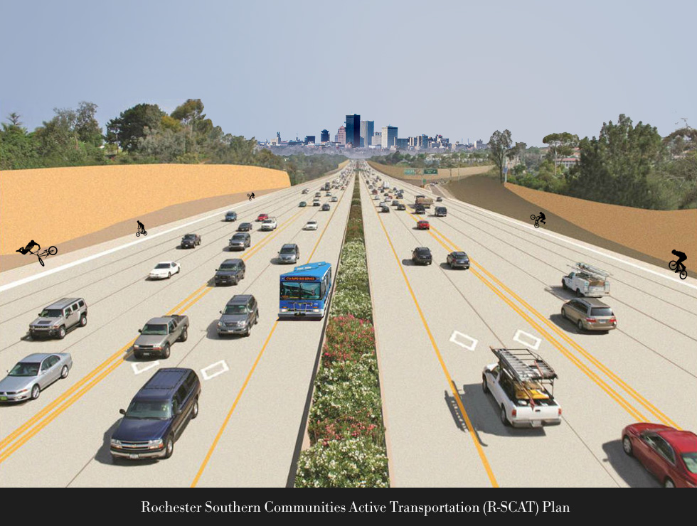 Rendering of Proposed Multimodal Corridor connecting Henrietta with downtown Rochester.