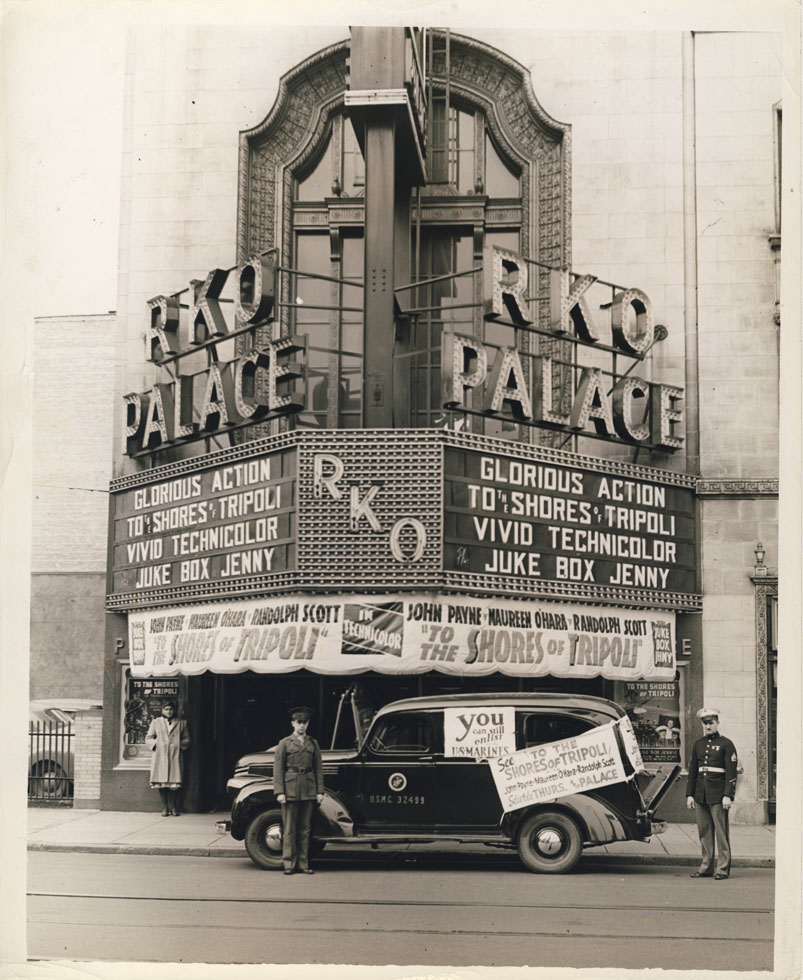 Rochester's RKO Palace Theater during WWII. Main entrance on Clinton Ave. 1942. [PHOTO: D.O. Schultz / Rochester Theater Organ Society]