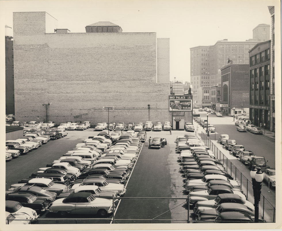 Looking east at rear wall of the RKO Palace Theater's auditorium. Mortimer Street on right. 1953. [PHOTO: D.O. Schultz / Rochester Theater Organ Society]