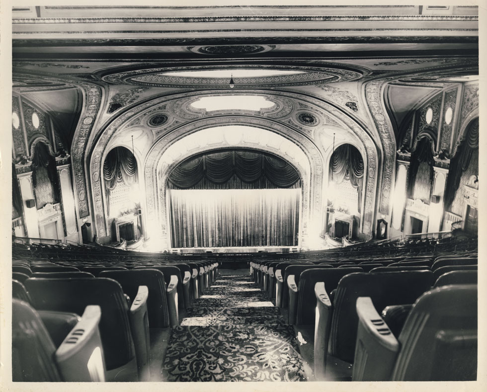 RKO Palace Theater stage. View from balcony. There was seating for 2,916 people. [PHOTO: D.O. Schultz / Rochester Theater Organ Society]