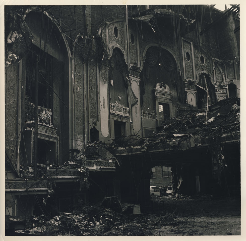 Rochester's RKO Palace Theater during demolition. 1965. [PHOTO: D.O. Schultz / Rochester Theater Organ Society]