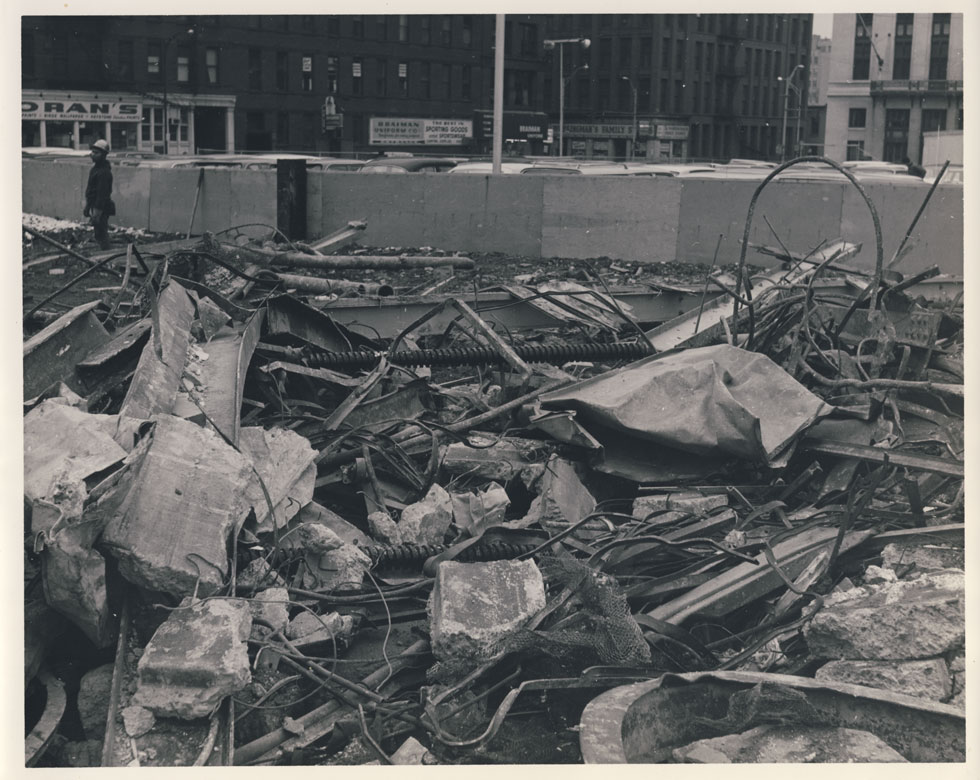 Rubble where the stage was. Looking west toward Saint Paul Street. [PHOTO: D.O. Schultz / Rochester Theater Organ Society]