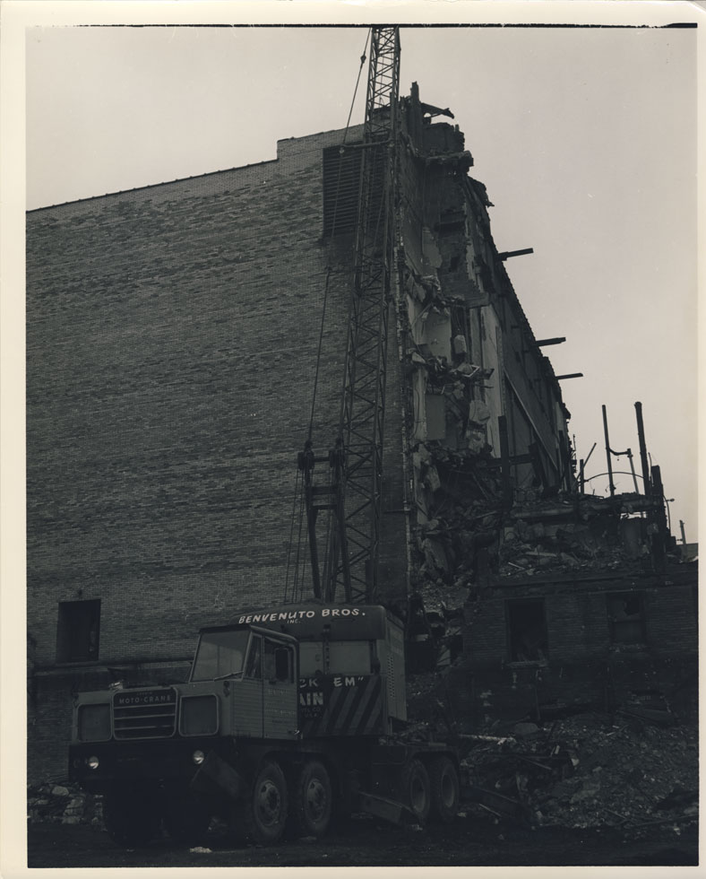 Taking down the northern stack of dressing rooms. There were seven levels of them. [PHOTO: D.O. Schultz / Rochester Theater Organ Society]