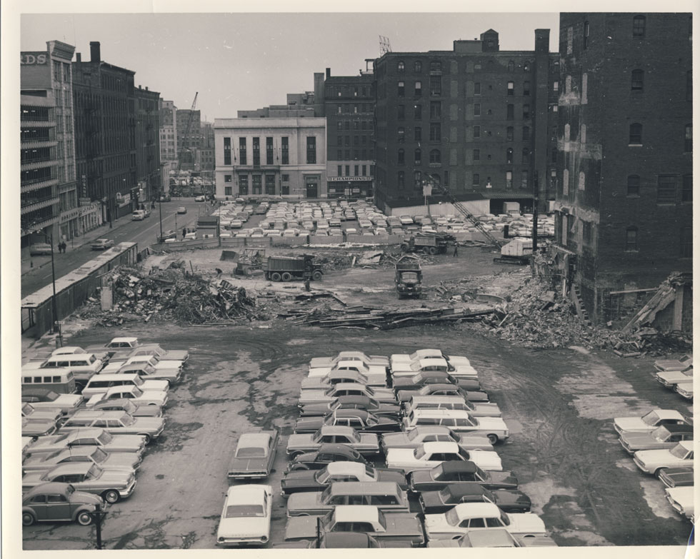 All clear. Dump trucks are where the auditorium was. Front lobby was in the lower right of view. Saint Paul St. in the background. [PHOTO: D.O. Schultz / Rochester Theater Organ Society]