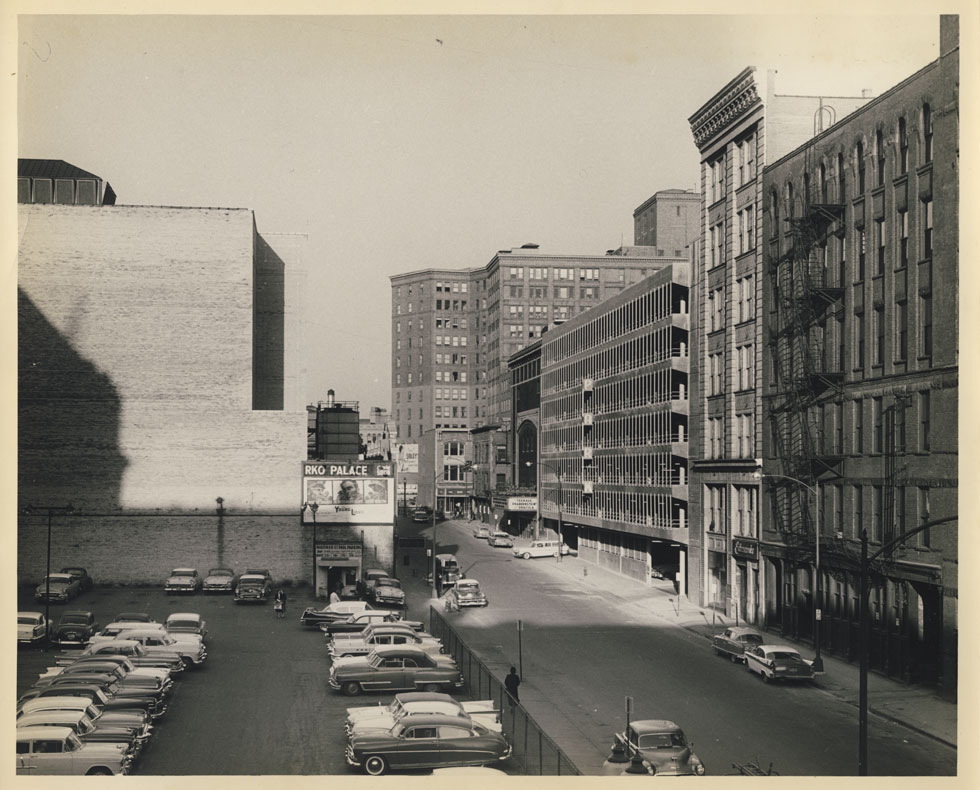 Looking east at rear wall of the RKO Palace Theater's auditorium. Mortimer Street on right. 1957-58. [PHOTO: D.O. Schultz / Rochester Theater Organ Society]