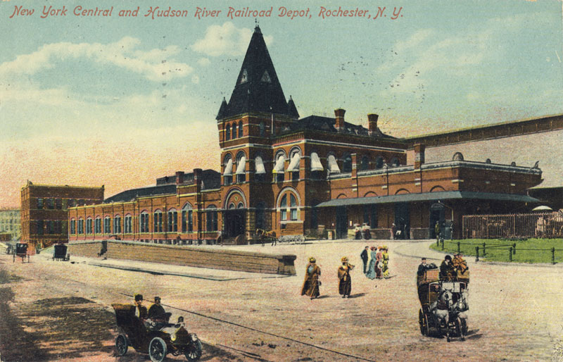 Rochester's second NY Central Railroad Depot. It was the first to occupy the site of the current Amtrak Station between St. Paul and Clinton Avenue (view is looking west from Clinton, 1907).