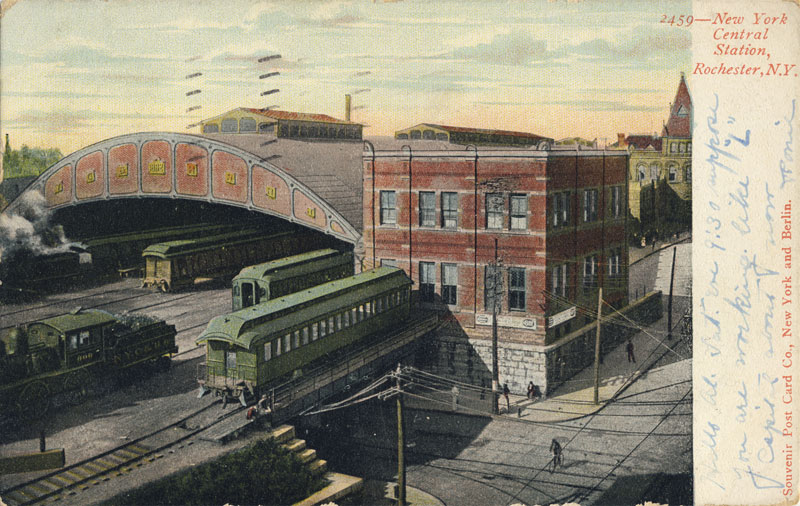 Another view of Rochester's second NY Central Railroad Depot. (looking east from St. Paul Street). This station was built in 1882 for $925,000 after the State paid to elevate the tracks to eliminate grade crossing in the City. It was only the 2nd such elevation in the nation—outside NYC.