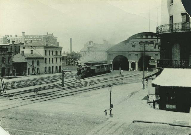 A view of the first New York Central Railroad station located between Mill Street and Front Street—near the site of Lincoln's speech. This station replaced a wooden structure, known as the Auburn Railroad shed, in 1852. It remained open until 1883 when a more modern station was constructed.