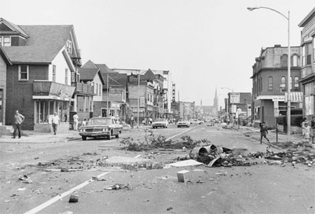 Joseph Avenue looking north. The aftermath of the so-called 'Race Riot' in July 1964, Rochester NY.
