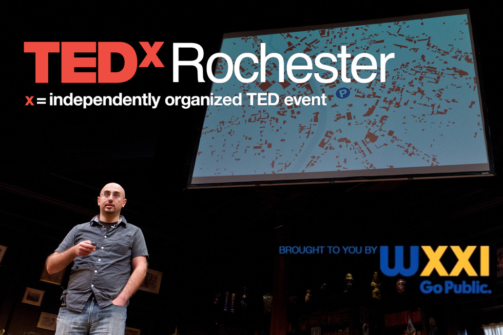 Mike Governale at TEDxRochester. Mike is a designer, blogger, and founder of a local public transit advocacy group, Reconnect Rochester. [PHOTO: Jeffrey Hamson]