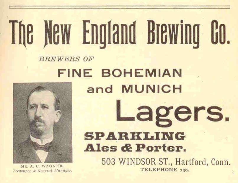 An ad for New England Brewing Co. (1907, Geers Directory). That's an image of A.C. Wagner, architect of our 13 Cataract building. [IMAGE THANKS TO: Joel Helfrich, Adjunct Assist. Prof. of History, MCC]