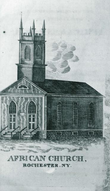 The first African Methodist Episcopal Zion Church at Spring and Favor Streets. [PHOTO: Taken from a 19th century engraving, Rochester Public Library]