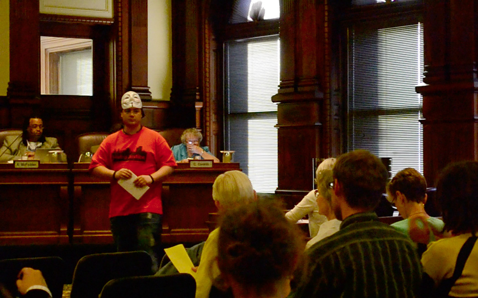 Richard Yaniak spoke to City Council last night while wearing an 'anonymous' mask. He spoke about the Rochester Police Department and officers' handling of demonstrators during a July 21 Occupy Rochester march.