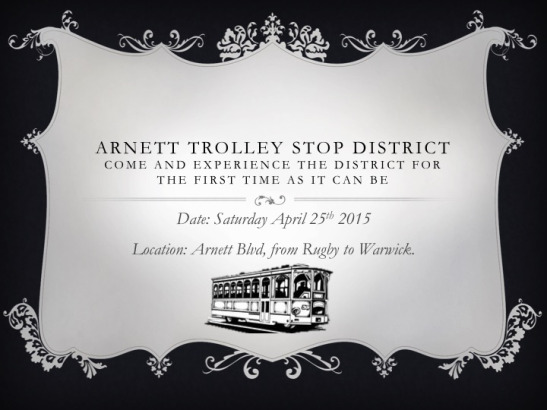 For this event, the Arnett Trolley Stop District will be home to a number of pop up restaurants and jewelry stores, a yoga studio, and other local vendors. [PHOTO: ArnettTrolleyStop.com]