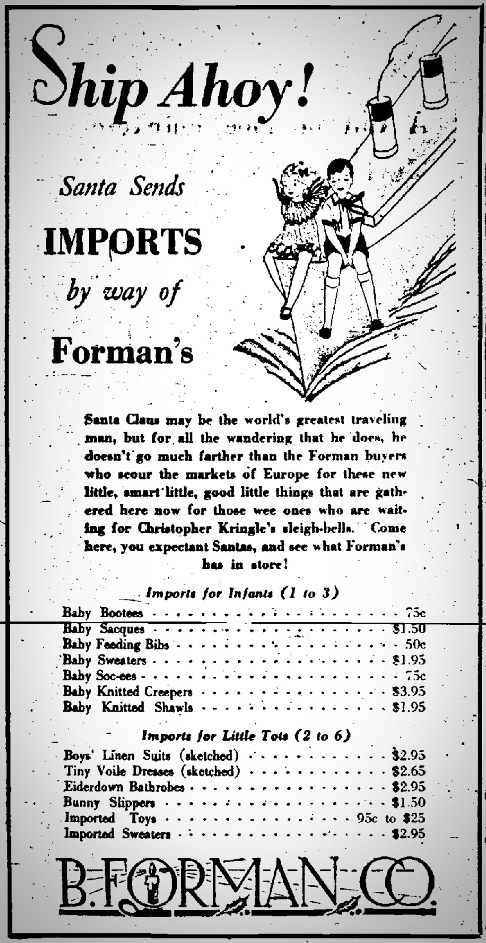 B. Forman Co. advertisment in the Democrat and Chronicle, December 18, 1929. [SOURCE: FultonHistory.com]