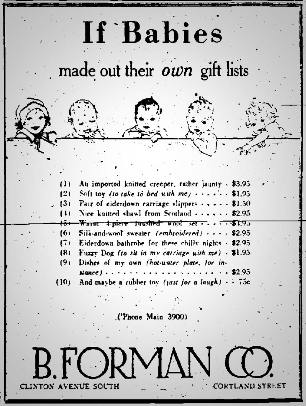 B. Forman Co. advertisment in the Democrat and Chronicle, December 20, 1929. [SOURCE: FultonHistory.com]